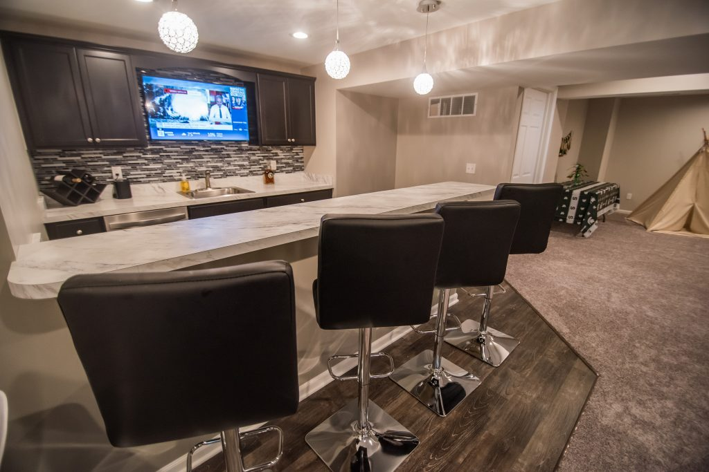 modern basement bar with seating